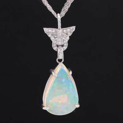 14K White Gold and Platinum Opal and Diamond Pendant Necklace