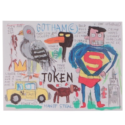 "Giclée after Jean-Michel Basquiat ""Who is the Lap Dog and Who's Superman"""