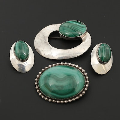 Southwestern Style Sterling Silver Malachite Brooches and Earrings