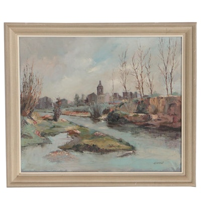 L. Saurat Oil Painting of Architectural Landscape