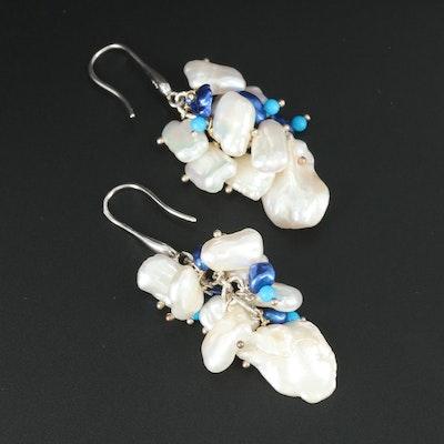 Sterling Silver Cultured Pearl Beaded Wire Drop Earrings