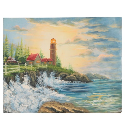 W. Adams Landscape Oil Painting of Lighthouse Scene