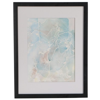 Late 20th Century Abstract Watercolor Painting