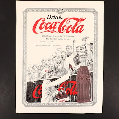 "1920s Coca-Cola ""The Hit That Saves the Day"" Advertising Card"