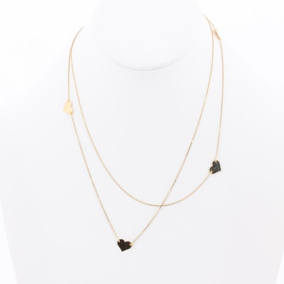 14K Yellow Gold Heart Station Necklace