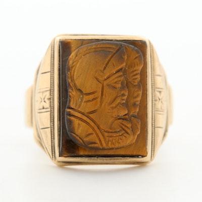Victorian 10K Yellow Gold Tiger's Eye Ring