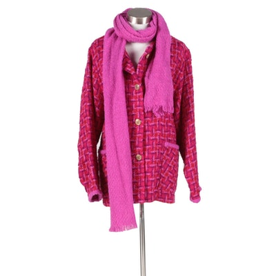 Boyne Valley Weavers of Ireland Handmade Multicolor Wool Jacket and Scarf