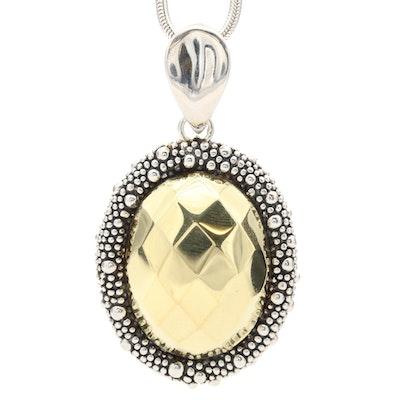 Michael Dawkins Sterling Silver Enhancer Pendant on Fine Silver Necklace