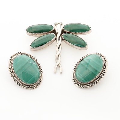 Southwestern Style Sterling Silver Malachite Earrings and Brooch