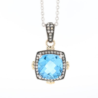 Sterling Silver Blue Topaz and Diamond Necklace Pendant with 10K Gold Accents