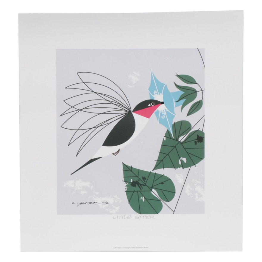 "Offset Lithograph after Charley Harper ""Little Sipper"""