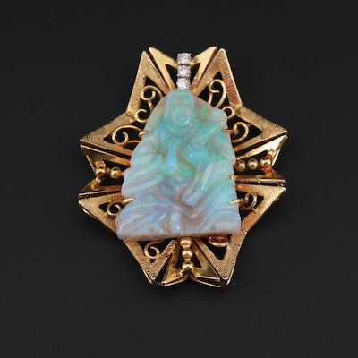 14K Yellow Gold Opal and Diamond Carved Figure Pendant