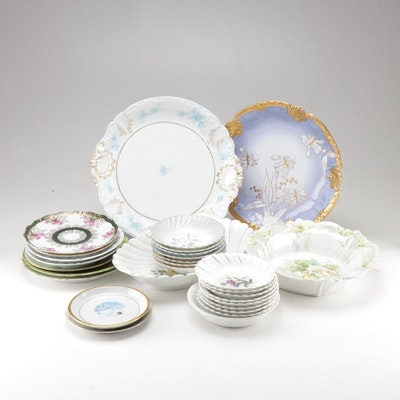 Hand-Painted Bavarian China and Limoges Dinner and Serveware