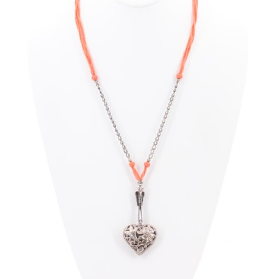 Vintage Sterling Silver Glass Beaded Heart Necklace