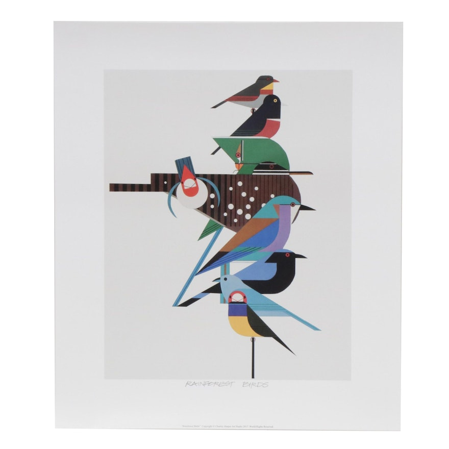 "Offset Lithograph after Charley Harper ""Rainforest Birds"""