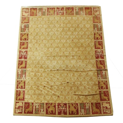 Hand Knotted Persian Gebbeh Pictorial Wool Rug
