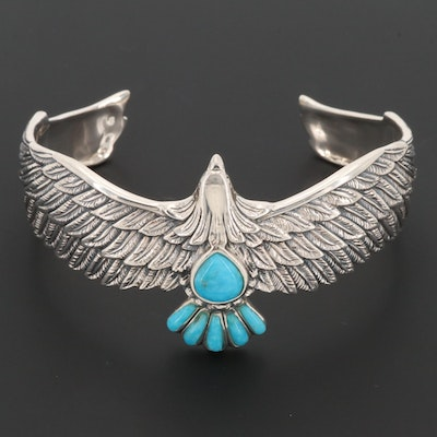 Sterling Silver Turquoise Eagle Cuff Bracelet