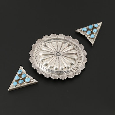 Vintage Southwestern Style Sterling Silver Buckle and Turquoise Collar Tips