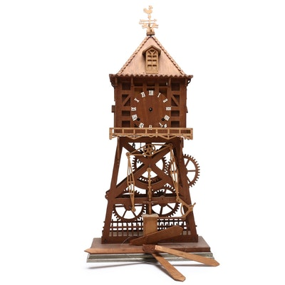 Carved Wooden Mantel Clock