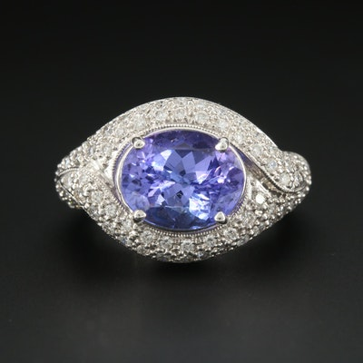 18K White Gold Tanzanite and 1.00 CTW Diamond Ring