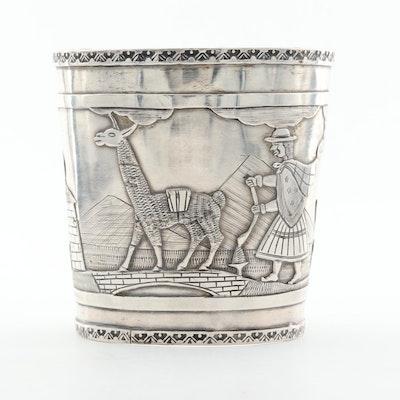 Peruvian 900 Silver Wide Cuff Bracelet