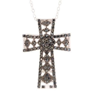Sterling Silver Black Cubic Zirconia Cross Pendant Necklace