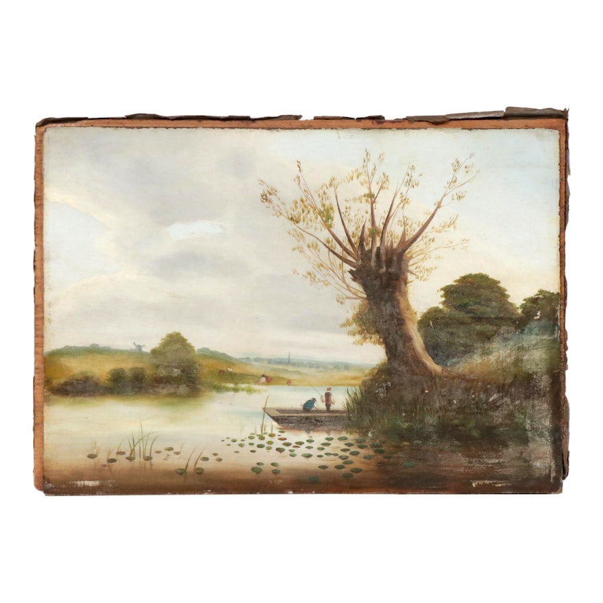 River Landscape with Fishing Boat Oil Painting, Late 19th to Early 20th Century