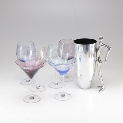 """Marquis by Waterford """"Polka Dot"""" Stemware and Figural Pitcher"""