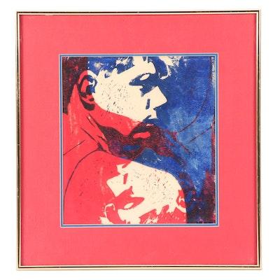 "Steve Dingman 1990 Pop Art Style Figural Linoleum Print ""Turn"""