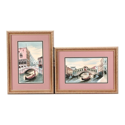 Watercolor Paintings of Venetian Canal Scenes featuring Rialto Bridge