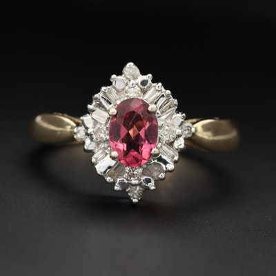 14K Yellow and White Gold Pink Tourmaline and Diamond Ring