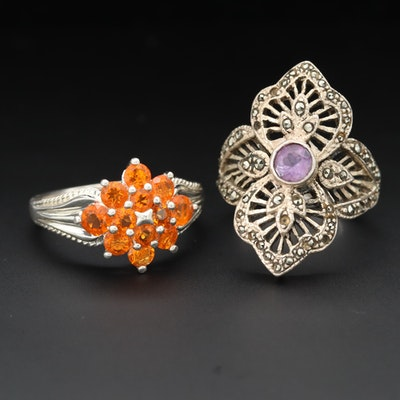 Sterling Silver Fire Opal, Amethyst and Marcasite Rings