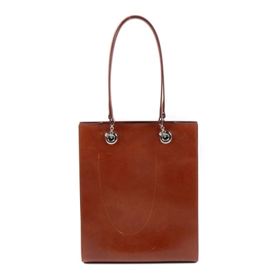 Cartier Paris Panthère Saddle Brown Leather Shoulder Bag