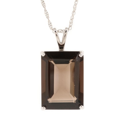 Sterling Silver Smoky Quartz Pendant Necklace