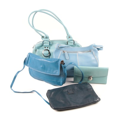 Blue Leather Handbags, Satchel and Clutch Including Cole Haan and Michael Rome