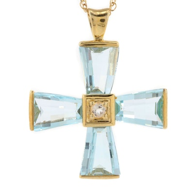 Sterling Silver Topaz Cross Necklace