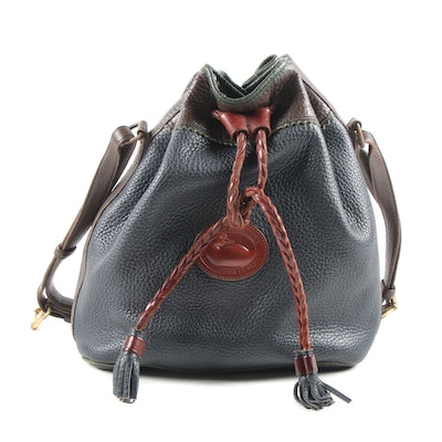 Dooney & Bourke Navy and Brown All-Weather Pebbled Leather Bucket Bag