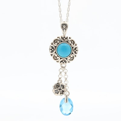 Sterling Silver Turquoise and Blue Topaz Pendant Necklace