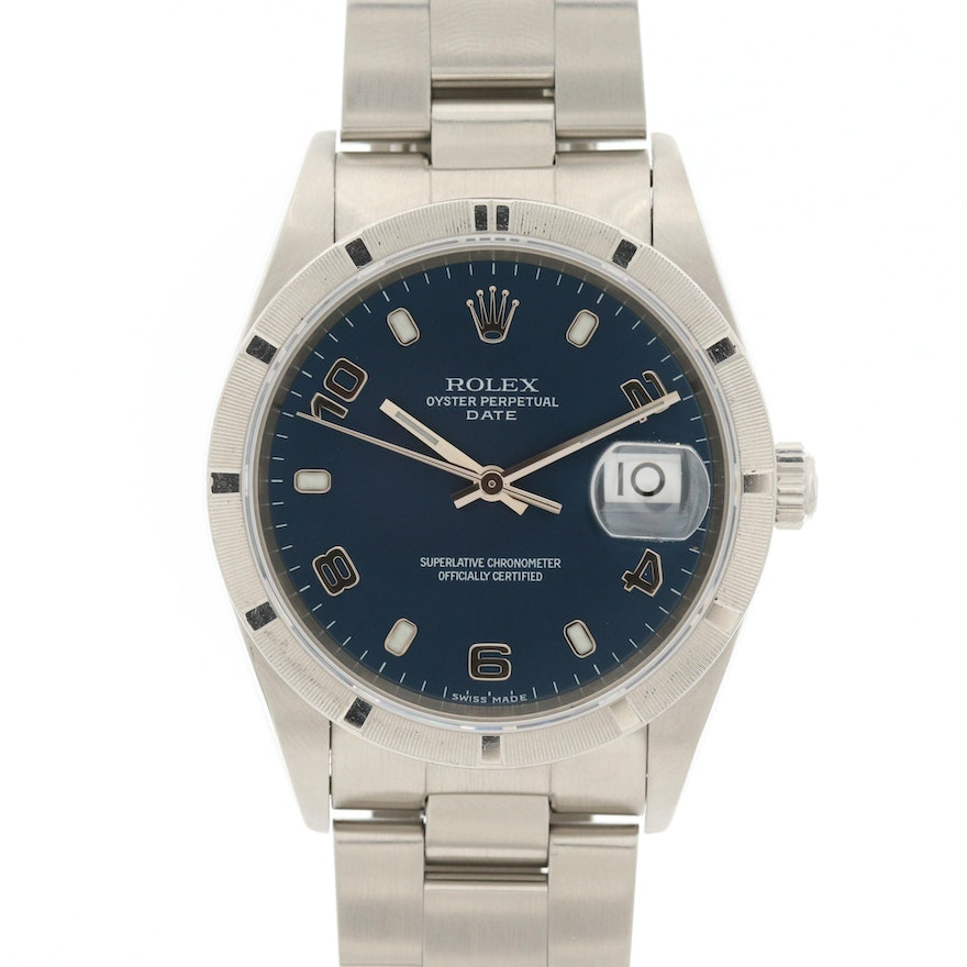 Rolex Oyster Perpetual Date Stainless Steel Automatic Wristwatch, 2002