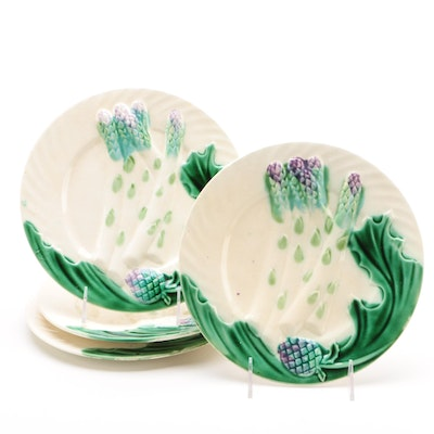 Salins Majolica Asparagus and Artichoke Plates, Late, 19th/ Early 20th Century