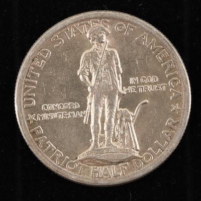 1925 Lexington-Concord Sesquicentennial Commemorative Silver Half Dollar