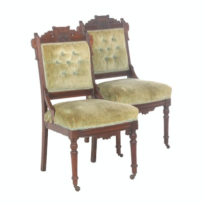 Pair of Victorian Eastlake Walnut Parlor Chairs, Late 19th Century