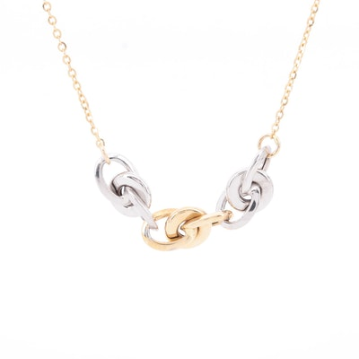 14K Yellow Gold Link Necklace with White Gold Accents