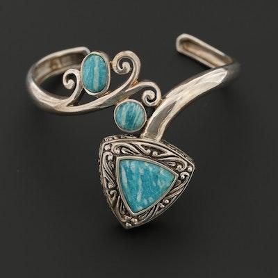 Sterling Silver Amazonite Cuff Style Bracelet