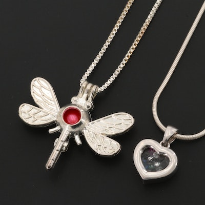 Sterling Silver Chains With Gemstone Dragonfly and Heart Pendants