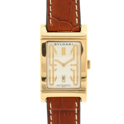 18K Gold Bulgari Rettangolo Automatic Wristwatch