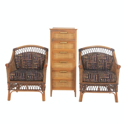 Woven Rattan Arm Chairs and Split Cane Chest