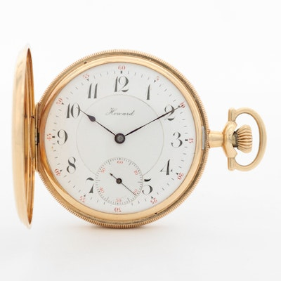 Antique Howard 14K Yellow Gold Hunter Case Pocket Watch, 1902