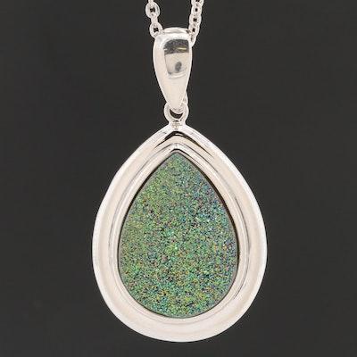 Sterling Silver Druzy Pendant Necklace