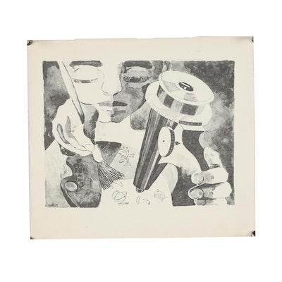 Margaret Sussman Lithograph of Artist and Microscope
